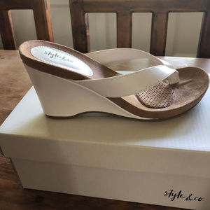 Style & Co Shoes - White leath wedge sandal